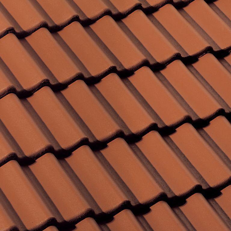 Tuile de rive universelle droite Double Romane DY025 - béton minéral - rouge sienne - 420x332x145 mm