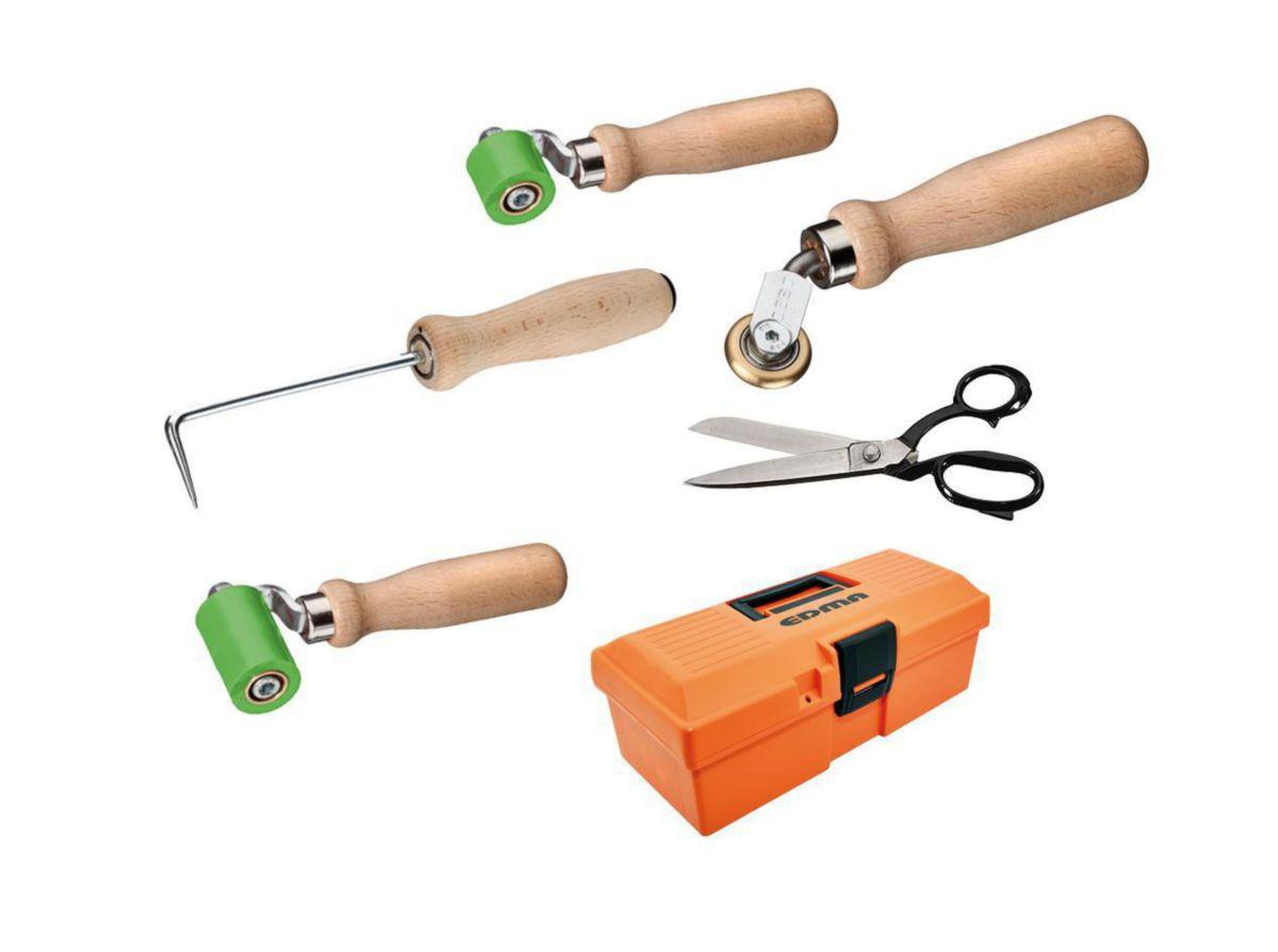 Lot étancheur rouleaux avec boîte à outils starter comprenant rouleaux de pression en 28 et 45mm, roulette d'angle, ciseaux 250mm, pointe de