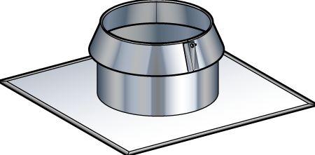 Solin avec collerette pour toit plat INOX-INOX, diamètre 180 / 230 mm SIO 180 230 / réf. 31999070