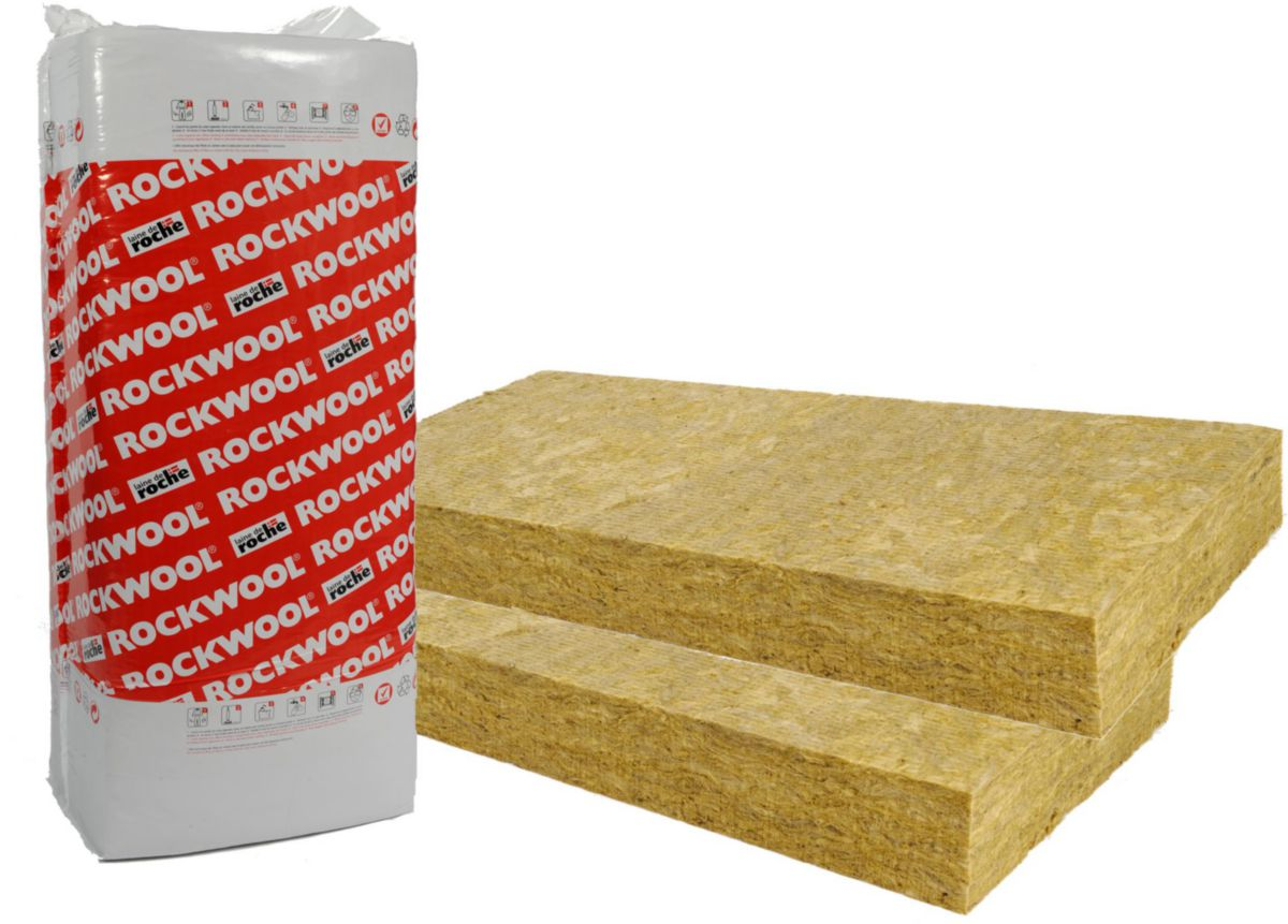Panneau isolant laine de roche ROCKFAÇADE non revêtu épaisseur 50mm 1,35x0,6m R=1,40 m².k/w ACERMI 02/015/027 ROCKWOOL