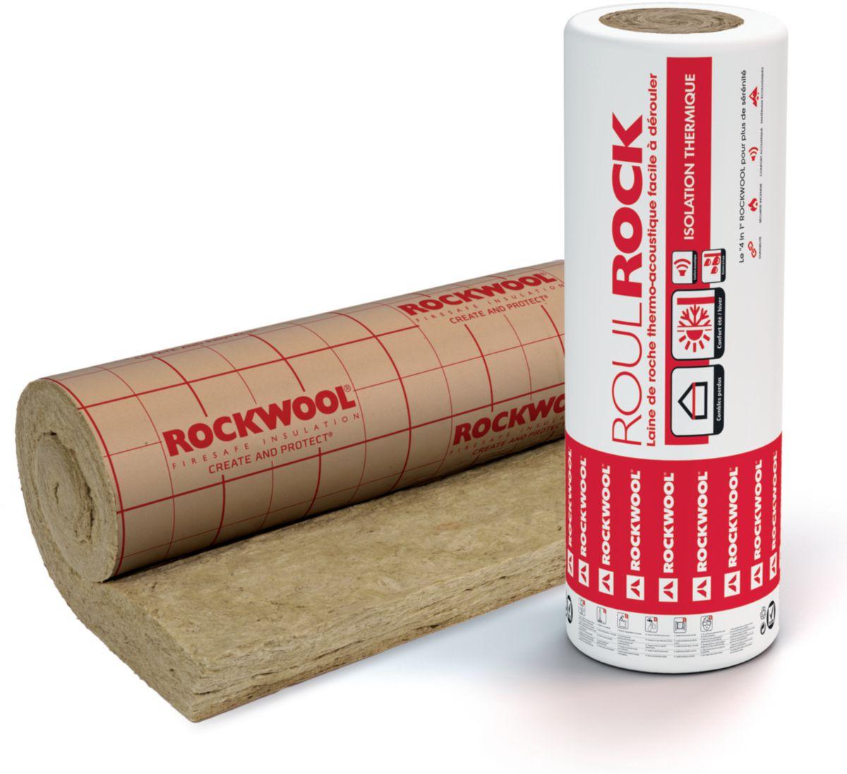 Panneau laine de roche revêtue Roulrock Kraft roulé - 2,4x1,2 m - ép. 200 mm - R=5,10 m². K/W