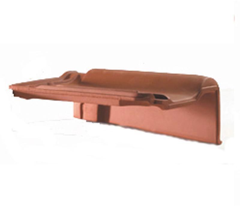 Tuile de rive à rabat droite à emboîtement Panne H2 - terre cuite - rouge