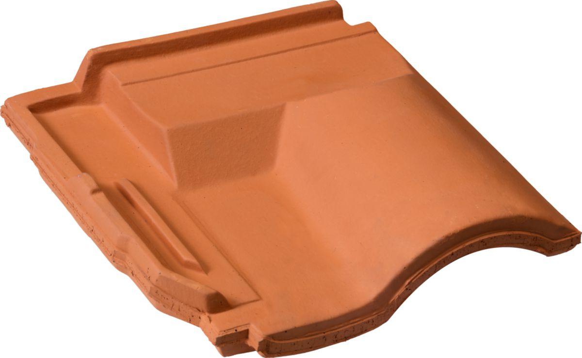 Tuile sous-faîtière 1/2 pureau Gallo-Romane GL086 - terre cuite - brun vieilli - 280x255 mm