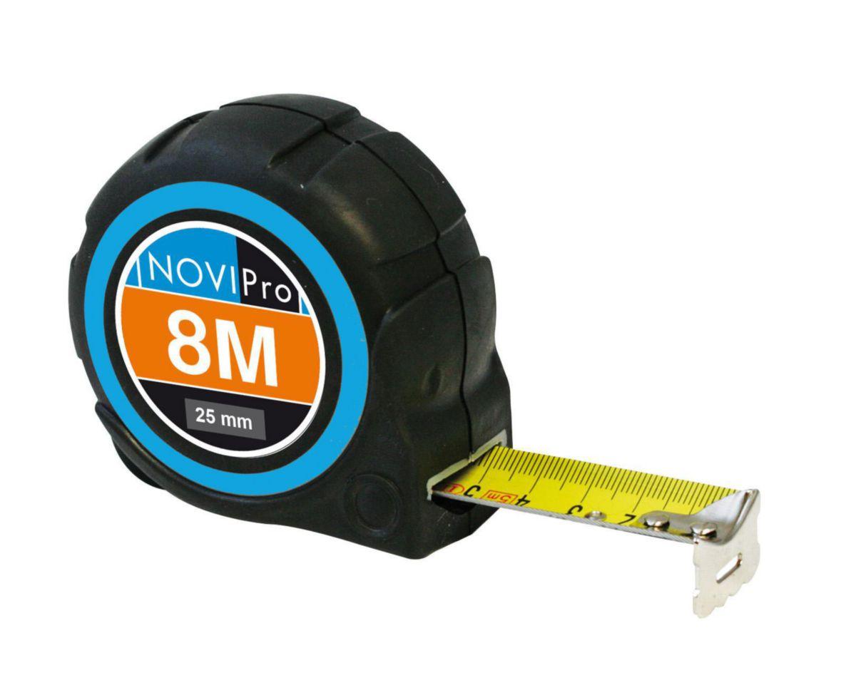 Mesure roulante corps ABS 8MX25MM protection caoutchouc blocage automatique du ruban NOVIPro 8mx25mm