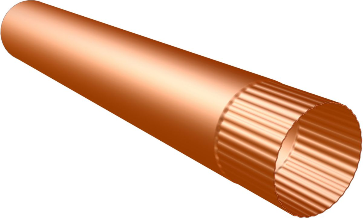 Tuyau de descente agrafé cuivre 120 ép.0,6 lg 2 m