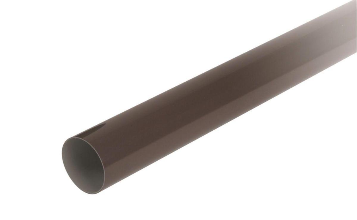 Tuyau prémanchonné pour gouttière demie-ronde de 25 diamètre 80mm longueur 4m PVC Marron TD80PM