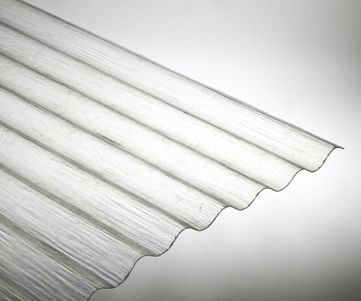 Plaque ondulée petite onde polyester PO 90 - 76 x 18 - 2,50 m x 0,90 m -  Epaisseur : 1,2 mm  - Incolore
