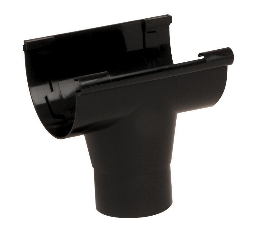 Naissance centrale à coller sortie diamètre 80mm noir NAC25N pour gouttière de 25 à coller