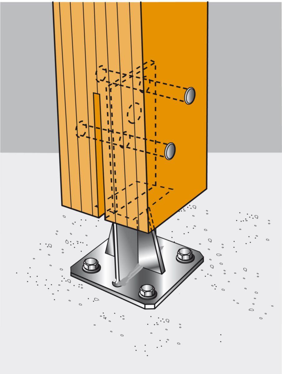 Pied de poteau en acier galvanisé en T avec platine PPS230