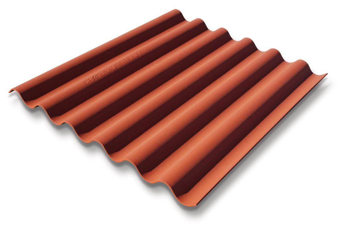 ETERNIT - Plaque fibres-ciment ondulée Coloronde 6 ondes FR 1m58 rouge latérite | Asturienne